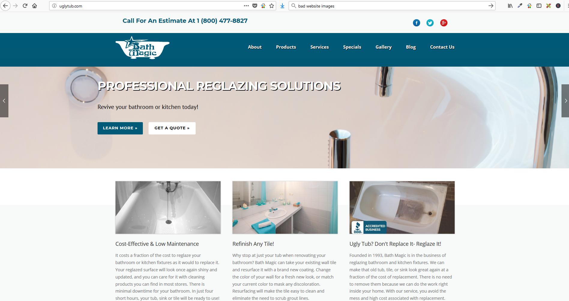 Bath Magic, Inc. website after screenshot